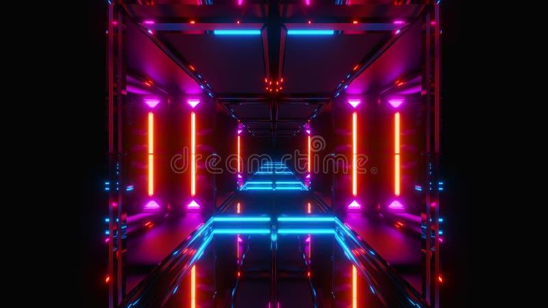De futuristische 3d scifitempel geeft terug stock illustratie