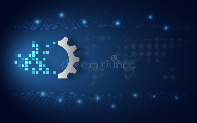 De futuristische digitale blauwe achtergrond van de transformatie abstracte technologie Kunstmatige intelligentie en grote gegeve royalty-vrije illustratie