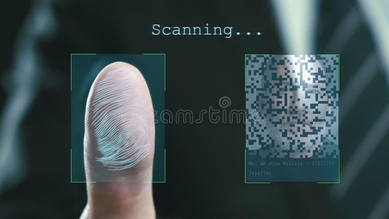 De futuristische digitale verwerking van vingerafdrukken als mens houdt zijn hand tegen een moderne vingerafdrukscanner Futuristi stock illustratie