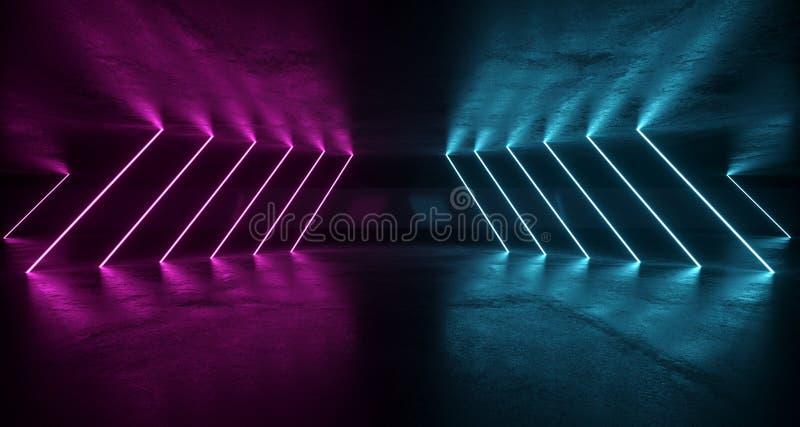 De Futuristische Grunge Zaal van sc.i-FI met Purpere en Blauwe Neonlichten W royalty-vrije illustratie