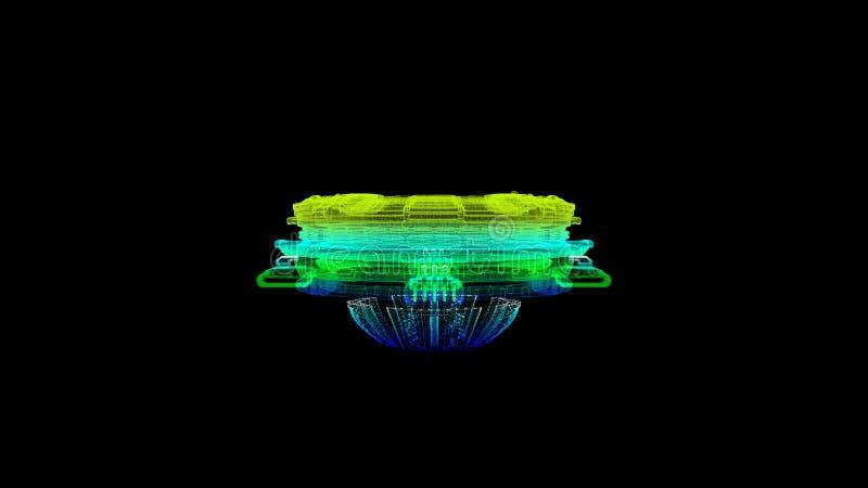 De futuristische Holografische Simulatie van Kernfusiedeeltjes stock illustratie