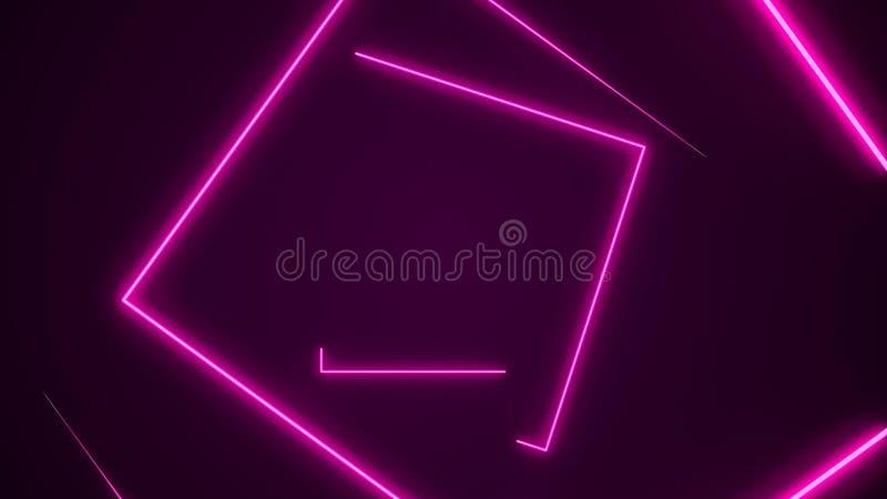 De futuristische HUD-achtergrond van de rechthoektunnel VJ 4K de grafiek van de neonmotie voor leiden royalty-vrije illustratie