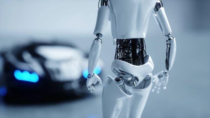 De futuristische humanoid vrouwelijke robot is walkihg aan auto Concept toekomst het 3d teruggeven vector illustratie