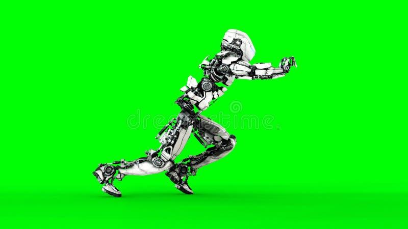 De futuristische robot isoleert op het groene scherm Realistische 3d geeft terug royalty-vrije illustratie