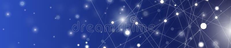 De futuristische samenvatting verlicht lijn en stippelt verbindings helder blauw op zwarte achtergrond, met conceptuele mirakelmo stock foto's