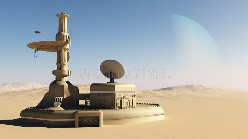 De futuristische sc.i-FI bouw van de woestijnbuitenpost vector illustratie