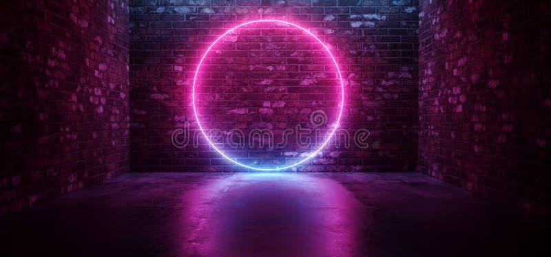 De futuristische Sc.i-het Neon van FI Elegante Moderne het Gloeien Cirkel Gestalte gegeven Purpere Roze Blauwe Gekleurde Lichten  royalty-vrije illustratie