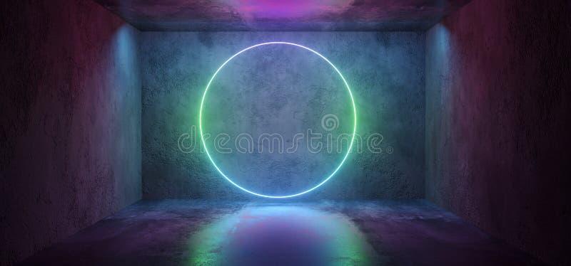 De futuristische Sc.i-het Neon van FI Elegante Moderne het Gloeien Cirkel Gestalte gegeven Purpere Roze Blauwe Gekleurde Lichten  vector illustratie