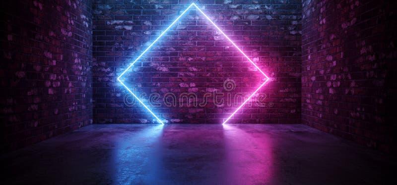 De futuristische Sc.i-het Neon van FI Elegante Moderne het Gloeien Rechthoek Gestalte gegeven Purpere Roze Blauwe Gekleurde Licht stock illustratie