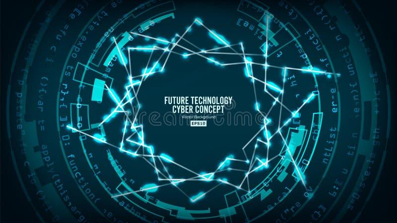 De futuristische Structuur van de Technologieverbinding Vector abstracte achtergrond Toekomstig Cyber-Concept Hallo Snelheids Dig royalty-vrije illustratie