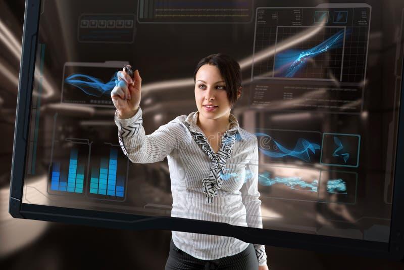 De Futuristische Technologie Van Het Aanrakingsscherm Royalty-vrije Stock Fotografie