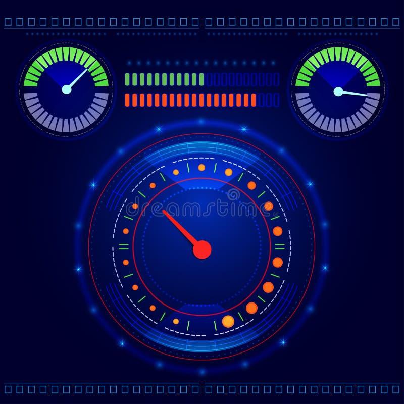 De futuristische vector van het autocontrolebord stock illustratie