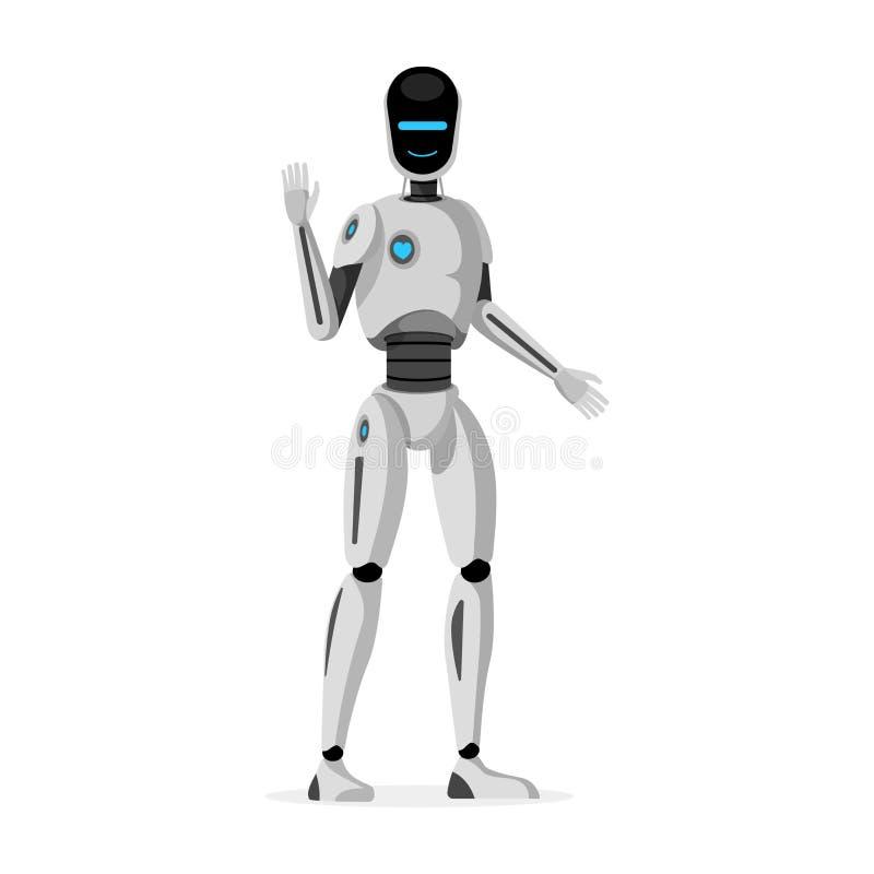 De futuristische vlakke vectorillustratie van de humanoidrobot Glimlachende cybernetische organisme golvende hand Vriendschappeli royalty-vrije illustratie