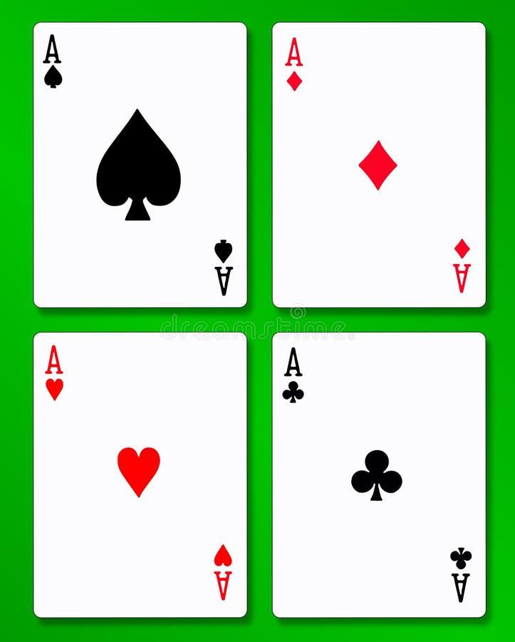 De fyra överdängarna över en bakgrund för tabell för grönt kort vektor illustrationer