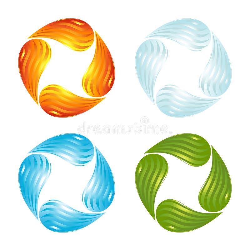 De fyra elementen av livstid royaltyfri illustrationer