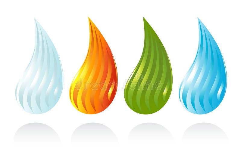 De fyra elementen av livstid stock illustrationer