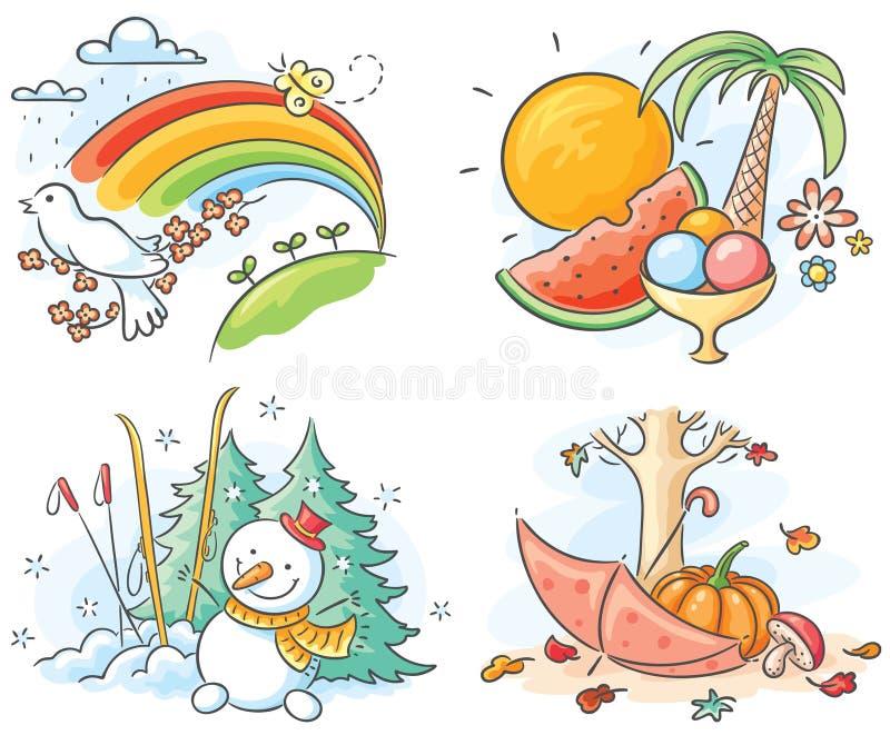 De fyra säsongerna i bilder royaltyfri illustrationer