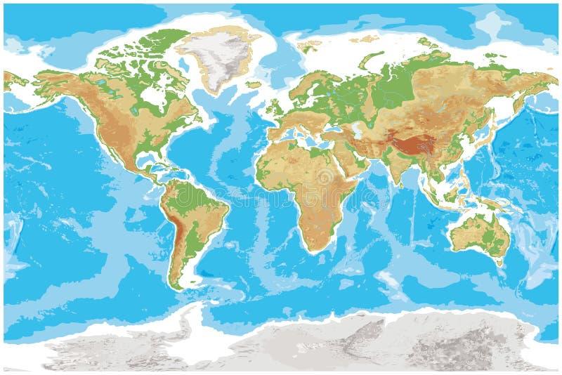 De fysieke kaart van Aarde detailleerde topografische wereld royalty-vrije illustratie