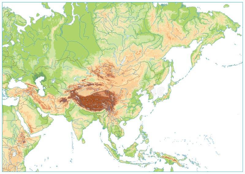 De Fysieke Kaart van Azië die op Wit wordt geïsoleerd GEEN tekst royalty-vrije illustratie