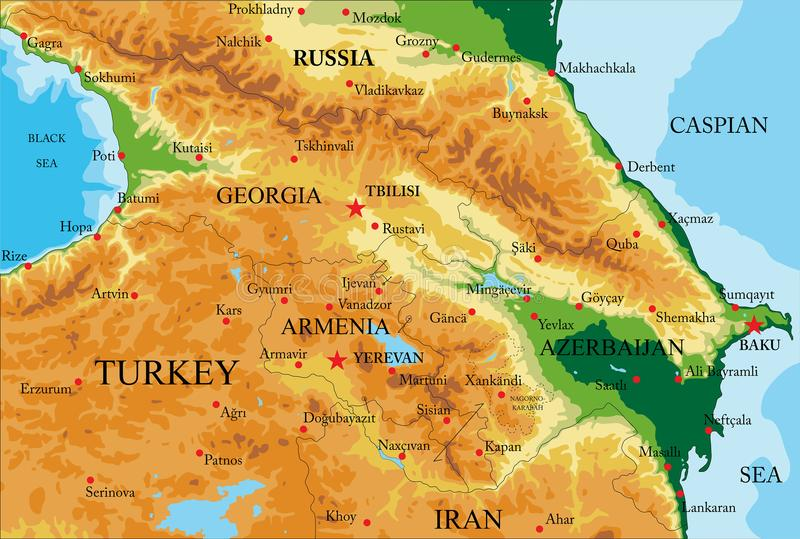 De Fysieke Kaart van de Kaukasus stock illustratie