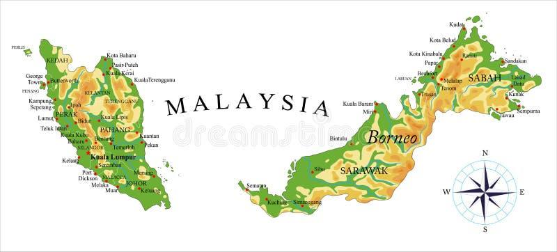 De fysieke kaart van Maleisië royalty-vrije illustratie