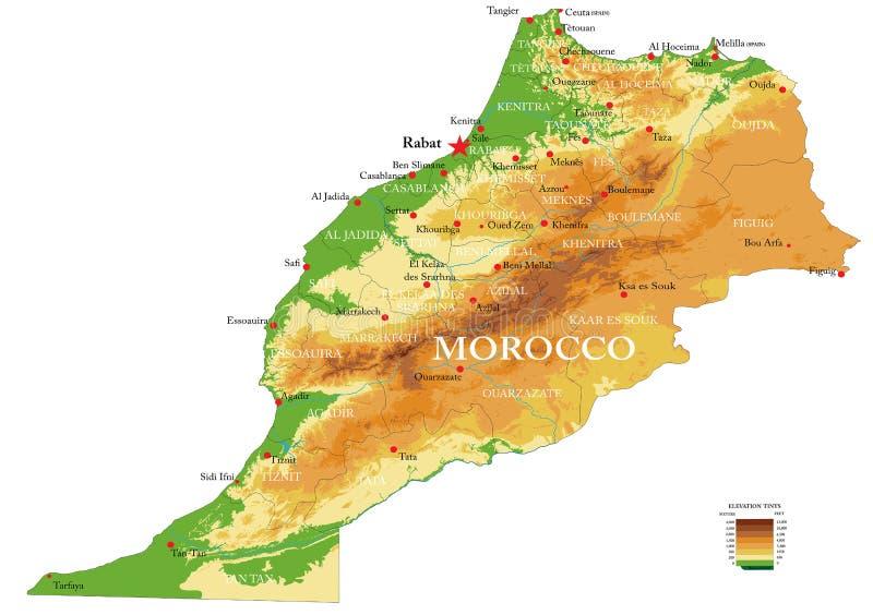 De fysieke kaart van Marokko stock illustratie