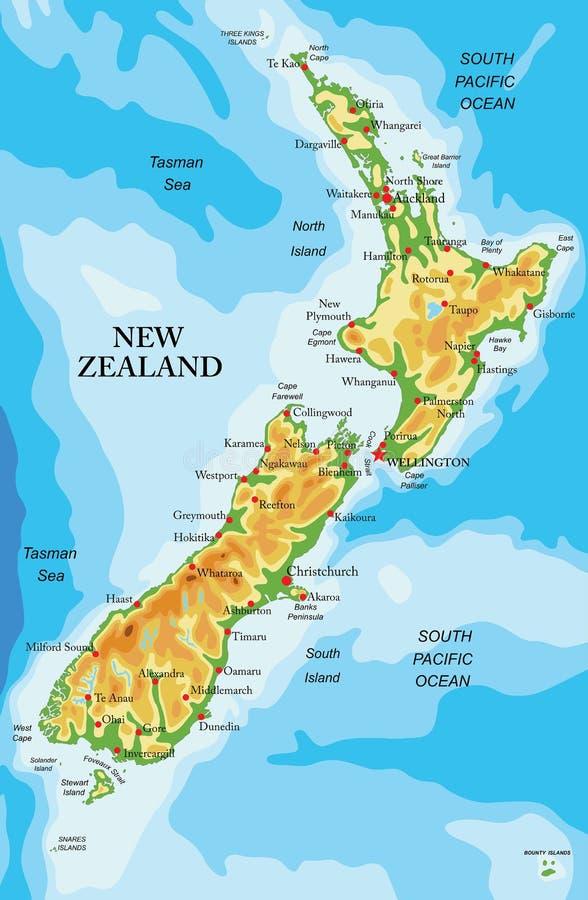De fysieke kaart van Nieuw Zeeland