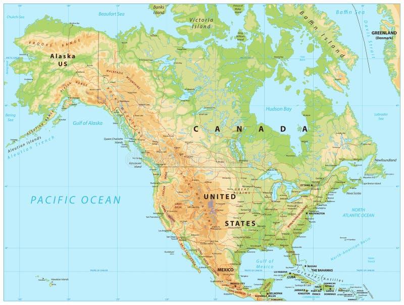 De Fysieke Kaart van Noord-Amerika royalty-vrije illustratie