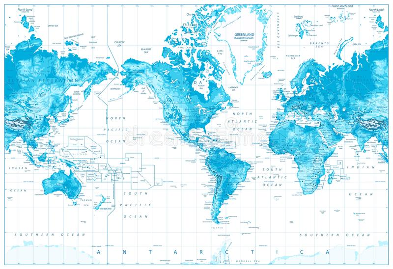 De fysieke Wereld kaart-Amerika centreerde stock illustratie
