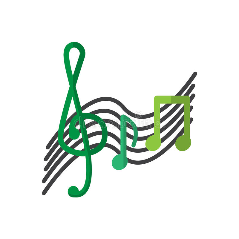 De g-sleutel en de muziek nemen nota van vlak pictogram, gevuld vectorteken, kleurrijk die pictogram op wit wordt geïsoleerd royalty-vrije illustratie