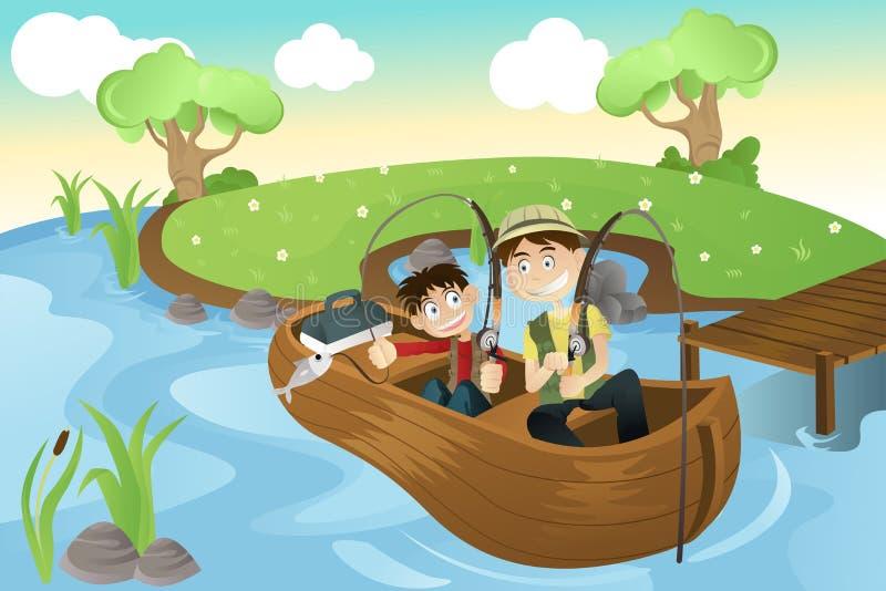 De gaande visserij van de vader en van de zoon royalty-vrije illustratie