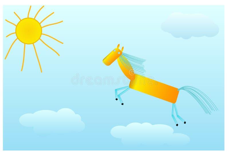 De galop van het kastanjepaard aan de zon op wolken vector illustratie