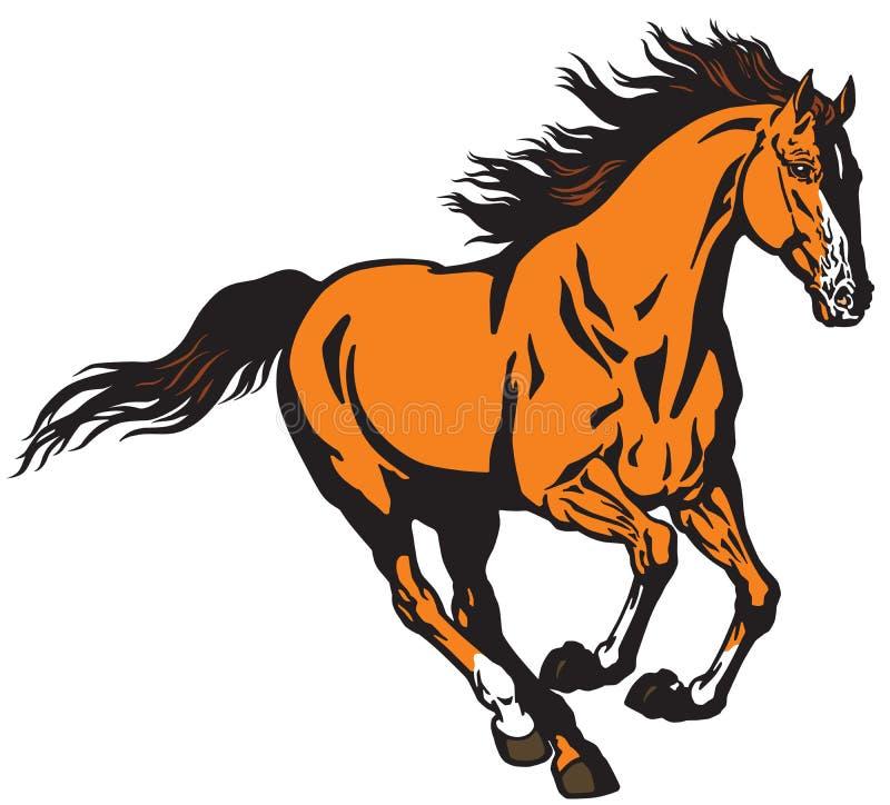 De galopperende wilde vectorillustratie van het hengstpaard stock illustratie