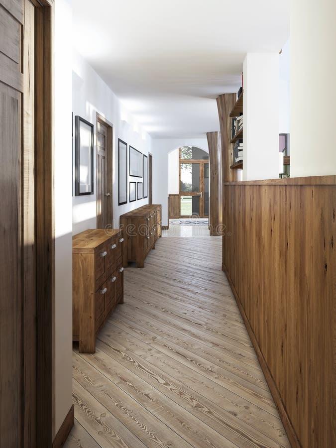 De gang in een zolder-stijl met het houten met panelen bekleden en schilderijen  royalty-vrije stock foto