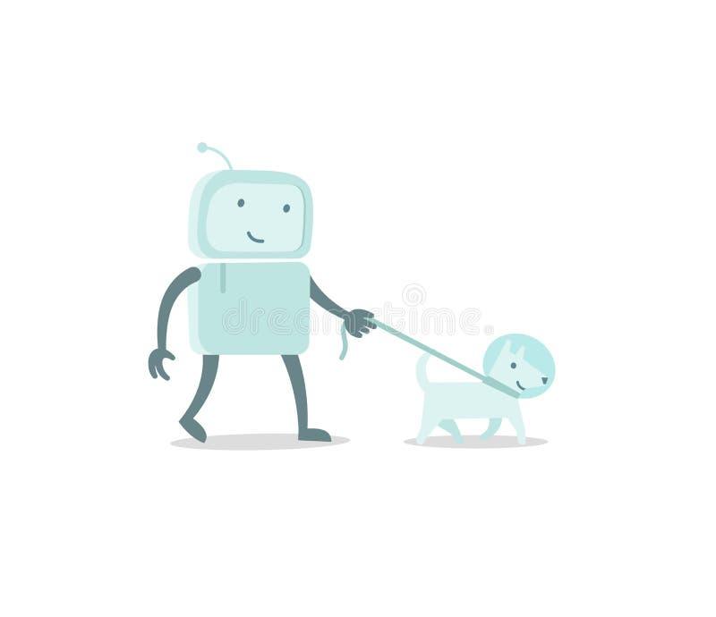 De gang van de de astronautenmens van het robotkarakter met hond op een leiband Vlakke kleuren vectorillustratie vector illustratie