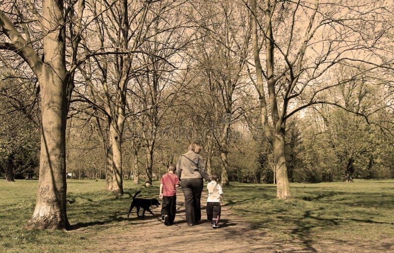 De gang van de familie in het park (sepia) royalty-vrije stock foto's
