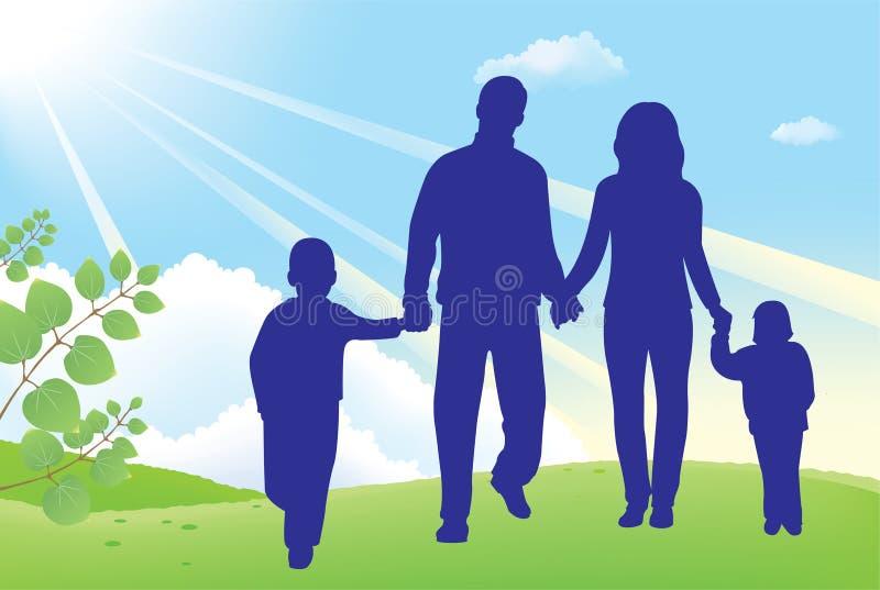 De gang van de vader en van de moeder met kinderen royalty-vrije illustratie