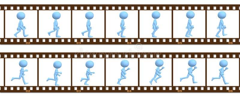De gang van het symboolmensen van de animatie die in cel frames in werking wordt gesteld royalty-vrije illustratie