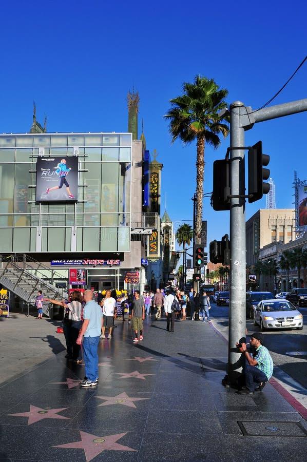 De Gang van Hollywood van Bekendheid in Boulevard Hollywood royalty-vrije stock afbeeldingen