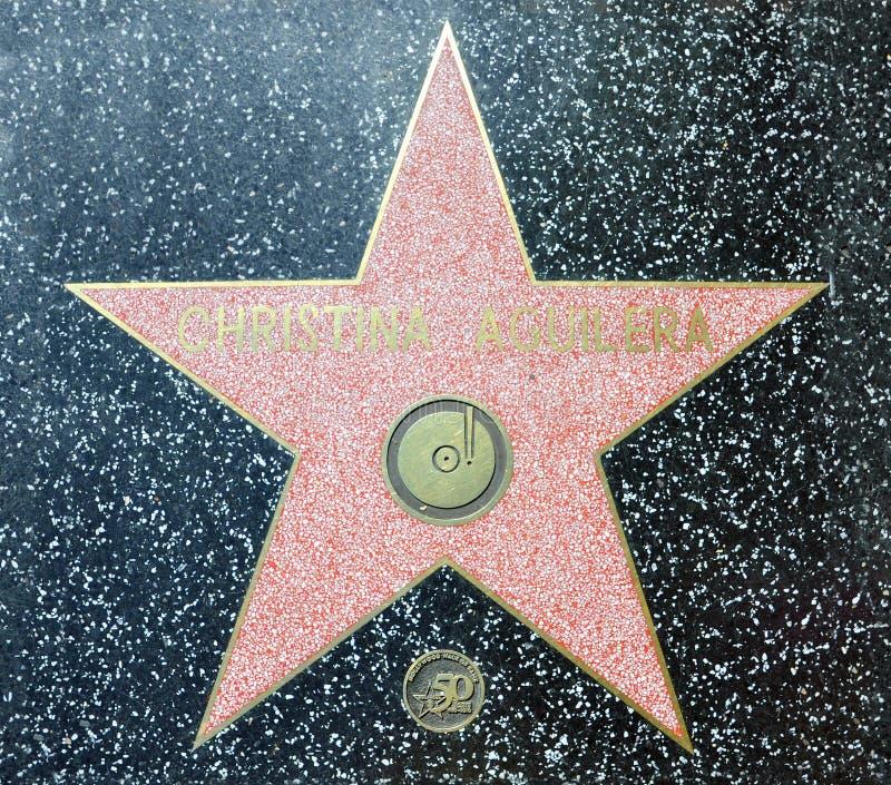 De Gang van Hollywood van Bekendheid - Christina Aguilera stock foto's