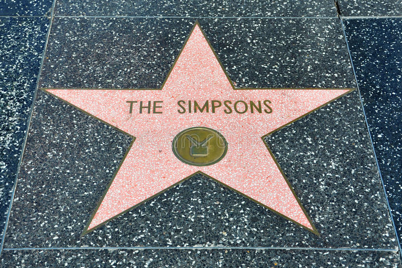 De Gang van Hollywood van Bekendheid - Simpsons stock fotografie