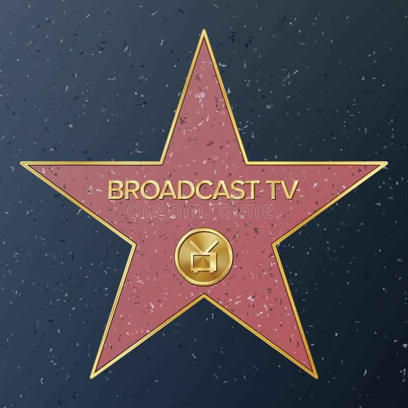 De Gang van Hollywood van Bekendheid Vectorsterillustratie Beroemde Stoepboulevard Televisieontvanger die Uitzending vertegenwoor stock illustratie