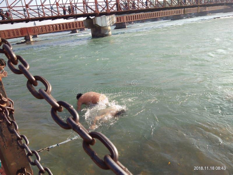 De Ganga-Rivier van India stock foto's