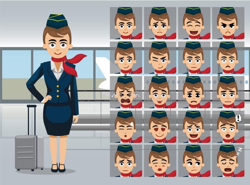 De Gangvector illustratie-01 van Cartoon Emotions Airport van de luchtstewardess royalty-vrije illustratie