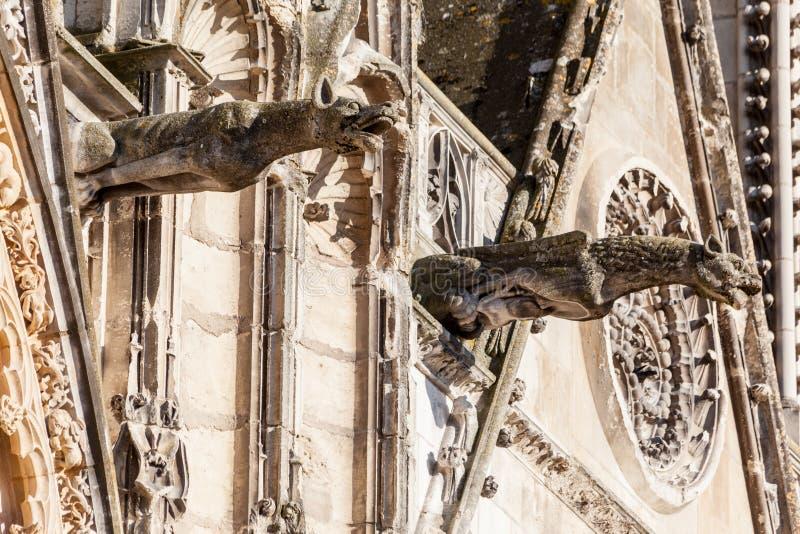 De Gargouilles van de Kathedraalfrankrijk van Bourges stock foto
