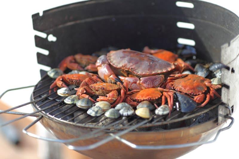 De garnalen van krabben bij de houtskoolgrill royalty-vrije stock foto