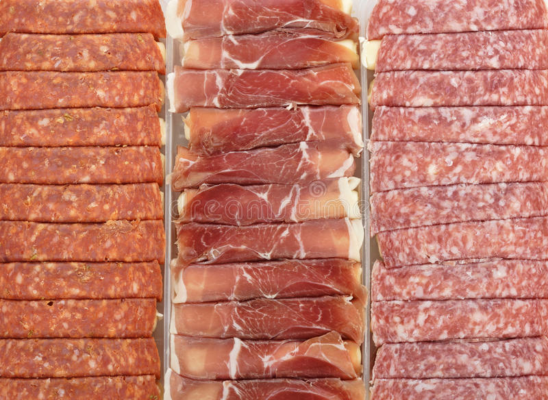 De Broodjes van het vlees en van de Salami met Kaas stock foto