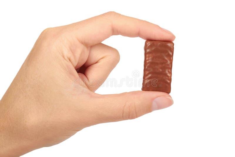 De gastronomische die Chocoladereep ter beschikking op witte achtergrond, huis wordt geïsoleerd maakte snoepjes, ongezond voedsel stock fotografie