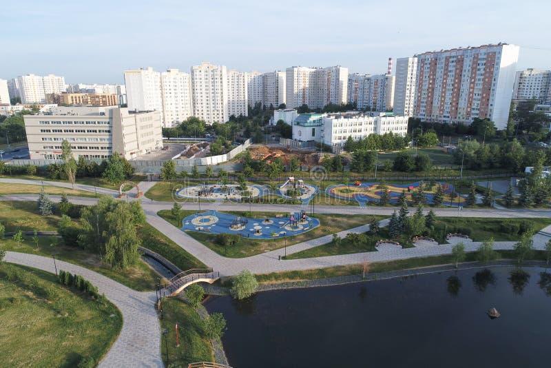 De Gavrikovskiyvijver en Butovo-het park van de vogels nemen, Moskou, Rusland waar royalty-vrije stock afbeelding