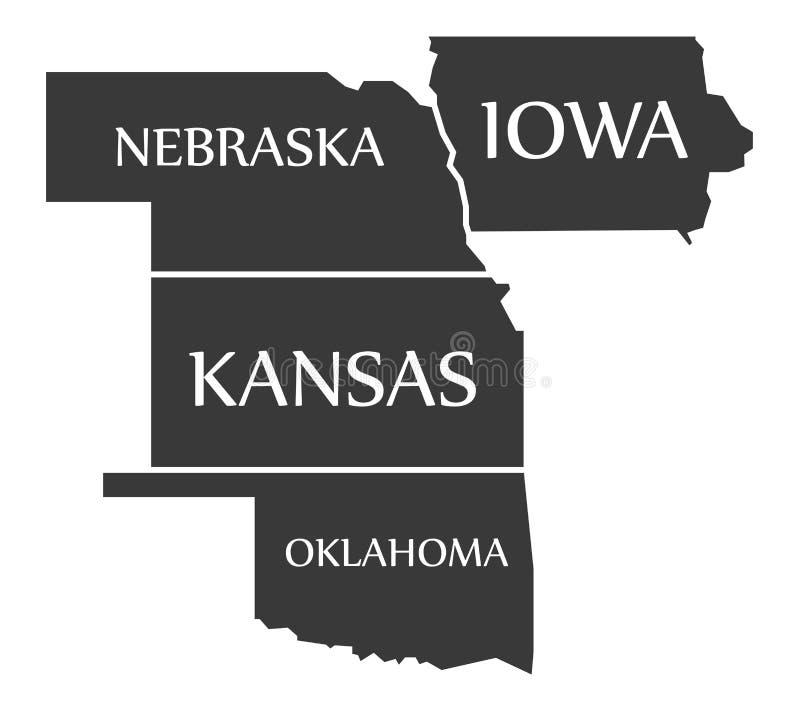 De geëtiketteerde zwarte van Nebraska - van Kansas - van Oklahoma - van Iowa Kaart stock illustratie